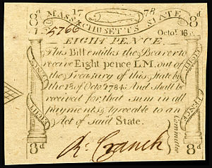 Massachusetts pound - Image: US Colonial (MA 258) Massachusetts 16 Oct 1778 (OBV)
