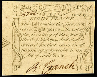 "Massachusetts pound - An eight pence note in Massachusetts state currency, issued in 1778. These ""codfish"" bills, so-called because of the cod in the border design, were engraved and printed by Paul Revere."