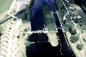 Environment of Florida - Ortona Lock and Dam, on the Caloosahatchee River, part of the Okeechobee Waterway, in Glades County, Florida, a part of the Army Corps of Engineers project to control water flow in the Everglades.