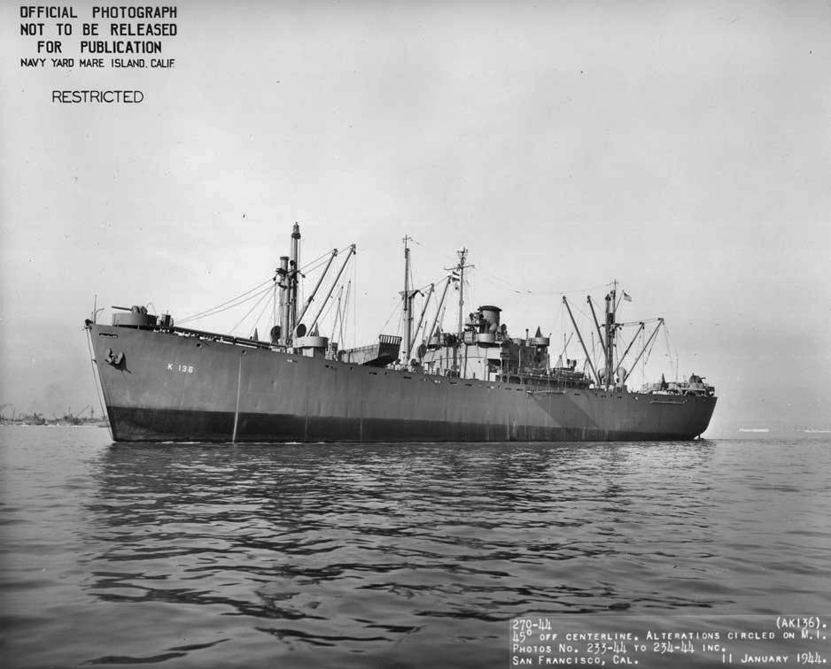 USS Ara (AK-136) off San Francisco, CA., 11 January 1944.