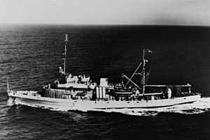 USS Florikan (ASR-9) underway on 8 August 1957