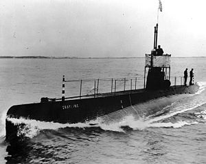 USS Grayling (SS-18), port side view, probably during builder's trials, circa 1909.