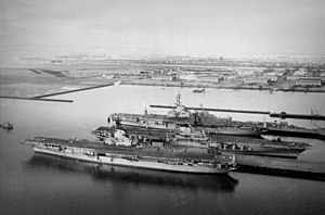 USS Hancock (CVA-19) Bon Homme Richard (CVA-31) and Midway (CVA-41) at NAS Alameda 1958.jpeg