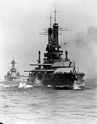 A black and white image of the Idaho in open water.