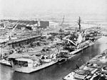 USS Kitty Hawk (CVA-63) fitting out at NY Ship c1960.jpg