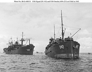 USS Oneida (APA-221) approaching the station tanker USS Signal (IX-142) for refueling at Ulithi during one of three periods that Oneida was in the anchorage, 23 February to 30 March, 12 to 23 May or 5 to 18 August 1945.