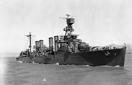 USS Raleigh, an Omaha-class cruiser, in 1942. Note casemates at bow. USS Raleigh (CL-7) off the Mare Island Naval Shipyard on 6 July 1942 (19-N-30916).jpg