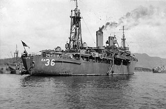 USS Maury (AGS-16) - USS Renate (AKA-36) at Sasebo in 1945.