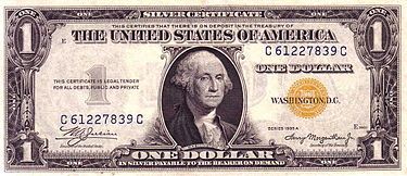 Special issue $1 Silver Certificate for Allied troops in North Africa US $1 1935A North Africa Silver Certificate.jpg