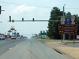U.S. Route 165 - US 165 begins a southbound concurrency with US 65 in Dumas, Arkansas