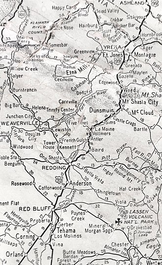 U.S. Route 99 in California - US 99 from Orland, CA to Ashland, OR in 1937