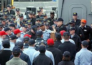 James L. Herdt - Herdt talking with U.S. Navy sailors in March 2002.