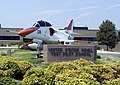 US Navy 050802-N-0295M-177 A TA-4J Skyhawk attack trainer aircraft sits in front of the main administration building at the United States Naval Test Pilot School (USNTPS), on board Naval Air Station Patuxent River.jpg