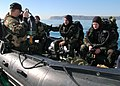 US Navy 051207-N-0899S-020 Divers assigned to the Navy's Special Clearance Team One (NSCT-1), prepare for a joint training dive during training off the coast of Point Loma, Calif.jpg