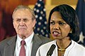US Navy 060427-N-0696M-216 Secretary of State Condoleezza Rice and Secretary of Defense Donald H. Rumsfeld address the media after meeting at the U.S. Embassy in Baghdad, Iraq.jpg