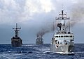 US Navy 080714-N-1159B-037 The U.S. and Royal Malaysian Navy vessels KD Lekir (F 26), guided-missile frigate USS Ford (FFG 54) and KD Sri Inderapura (L 1505) sail in formation during Cooperation Afloat Readiness and Training (C.jpg