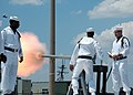 US Navy 080808-N-7668G-208 The Sewell's Point Saluting Battery Detail fires a gun salute in honor of Submarine Force commander Vice Adm. John J. Donnelly. Donnelly served as guest speaker for the Commander, Submarine Squadron (.jpg