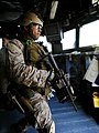 US Navy 090526-N-5345W-131 A member of the visit, board, search and seizure team assigned to the 22nd Marine Expeditionary Unit (22 MEU) conducts a non-compliant merchant vessel drill.jpg