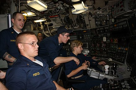 Midshipmen learn to pilot USS West Virginia. US Navy 100603-N-0000X-053 Midshipmen learn to pilot the submarine by training in the duties of the helm and planesman while underway aboard the Ohio-class ballistic-missile submarine USS West Virginia (SSBN 736).jpg