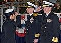 US Navy 120127-N-CM124-292 Vice Adm. Gerald R. Beaman, commander of U. S. 3rd Fleet, congratulates Seaman Recruit Teresa Lim at a pass in review gr.jpg