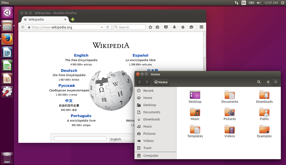 Ubuntu 15.10 with Firefox and Nautilus open