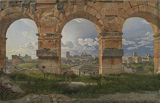 Vue à travers trois des arches du nord-ouest du troisième étage du Colisée de Rome