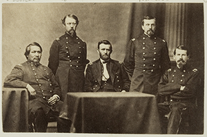 Ely S. Parker - General Ulysses S. Grant and Staff: Ely Samuel Parker (left sitting), Adam Badeau, General Grant (at table), Orville Elias Babcock, Horace Porter.