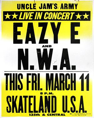 N.W.A - Poster for one of N.W.A's first concerts at a Compton skating rink, 1988