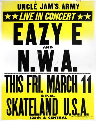 MC Ren - Poster for one of N.W.A's first concerts at a Compton skating rink, 1988