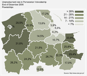 Unemployment rate in Pomeranian Voivodeship by county, as of the end of 2006