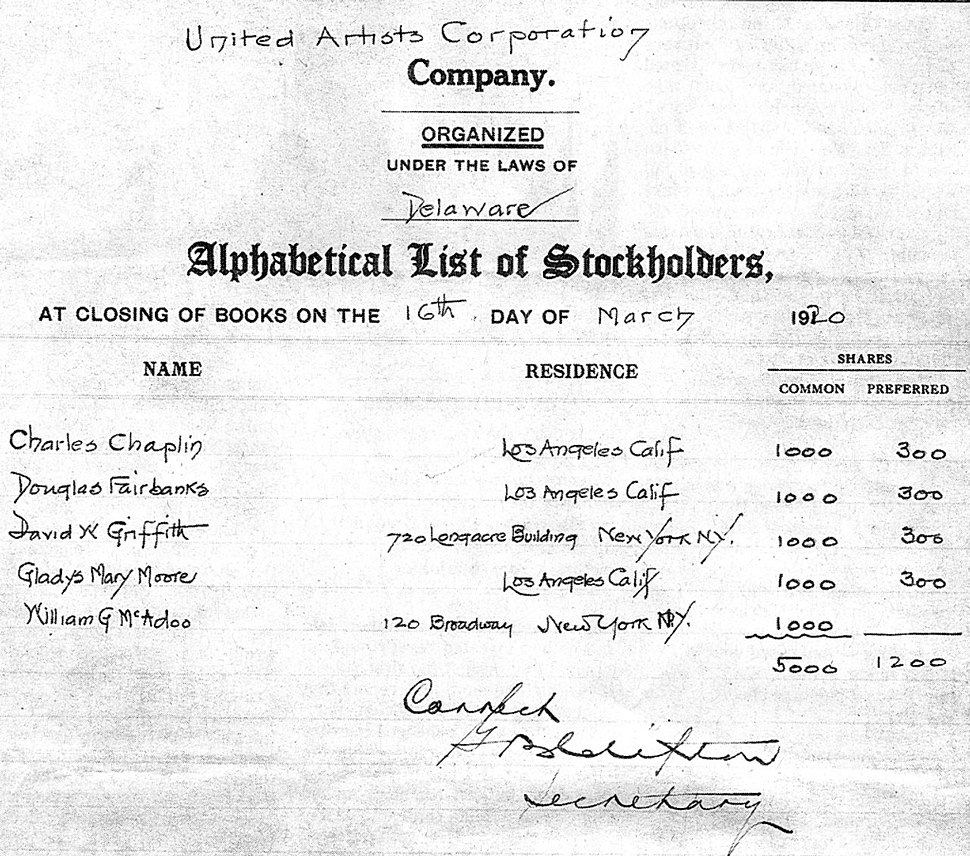 United Artists Stockholders