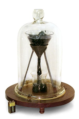 Pitch drop experiment - The University of Queensland pitch drop experiment, demonstrating the viscosity of bitumen.