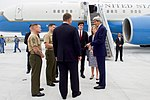 Upon Arrival in Japan, Secretary Kerry Introduces a U.S. Navy Fighter Pilot to Marine Corps Officers (26337644585).jpg