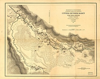 Hayden Geological Survey of 1871 - Map of Upper Geyser Basin, 1871