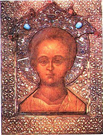 Immanuel - Christ Emmanuel, Christian icon with riza by Simon Ushakov, 1668. According to the Gospel of Matthew Immanuel refers to Jesus Christ.