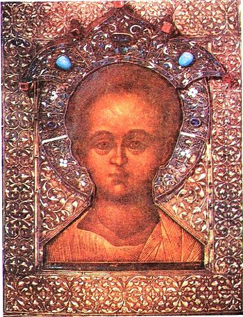 Christ Emmanuel, icon with riza by Simon Ushak...