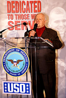 Actor Mickey Rooney speaks at the Pentagon in 2000 during a ceremony honoring the USO.