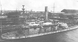 USS Arkansas (BM-7) - USS Arkansas during her initial fitting out