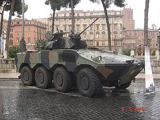 Oerlikon KBA - Example of KBA gun installed on Italian 8x8 Freccia wheeled Infantry fighting vehicle in use with the Italian Army.