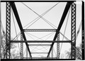 VIEW OF OVERHEAD TRUSS AND BRACING - Feederdam Bridge, State Route 59, spanning Eel River, Clay City, Clay County, IN HAER IND,11-CLACI.V,1-6.tif