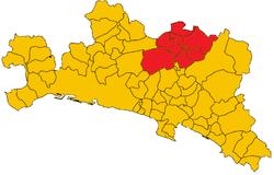 I comuni della val Trebbia in provincia di Genova