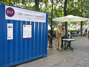 Liberal People's Party (Norway) - Campaign booth ahead of the 2009 election.