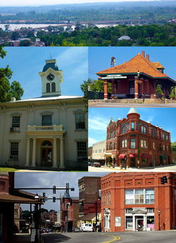 Clockwise, from top: US 71 bridge over the Arkansas River, Van Buren Train Depot, Crawford County Bank Building, Main Street in the Van Buren Historic District, Crawford County Courthouse