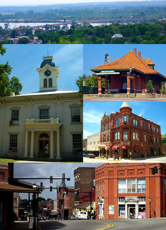 Van Buren, Arkansas - Clockwise, from top: US 64/US 71B bridge over the Arkansas River, Van Buren Train Depot, Crawford County Bank Building, Main Street in the Van Buren Historic District, Crawford County Courthouse