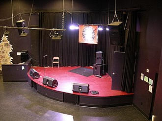 "Stage monitor system - This small venue's stage shows an example of a typical monitor speaker set-up: there are three ""wedge"" monitors directed towards the area of the stage where singers and instrumentalists will be performing. The drummer has both a subwoofer cabinet (for monitoring the bass drum and the electric bass) and a ""wedge""-style cabinet for monitoring vocals and mid- or high-frequency sounds."