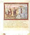 Vergilius Vaticanus f45v - Sibylle conduit Énée et Achates au temple d'Apollon.jpg