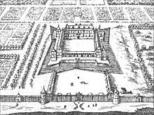 An engraving of Louis XIII's château as it appeared in 1652