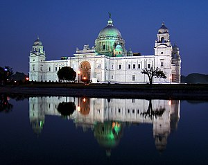 Maidan (Kolkata) - A view of the Victoria Memorial's facade at dusk