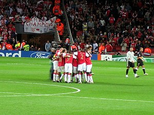 2007–08 Arsenal F.C. season - Arsenal players celebrating their win against Sevilla in September 2007.