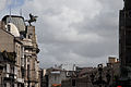 View of Rúa Policarpo Sanz roooftops. Sculpture decoratig The Caixanova Cultural Centre facade (left of the picture). Vigo, Galicia, Spain,Southwestern Europe.jpg